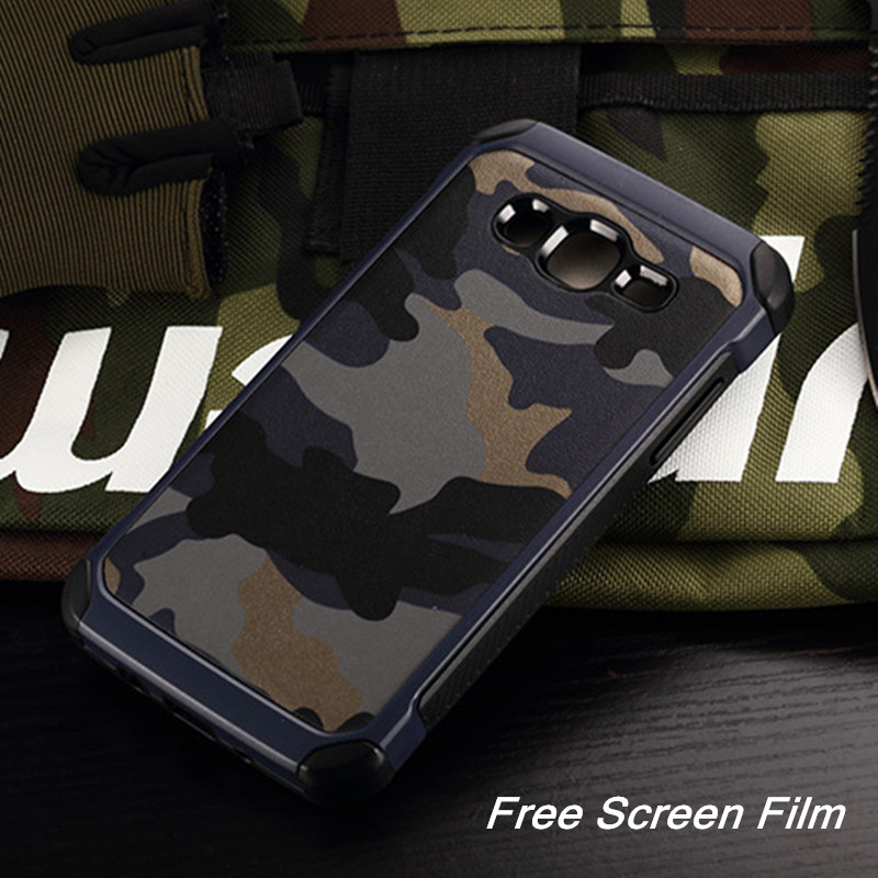2in1 Army Camo Camouflage Pattern Back Cover Hard PC Soft TPU Armor Protective Phone Case For Samsung Galaxy J1 J2 J5 J7 2015