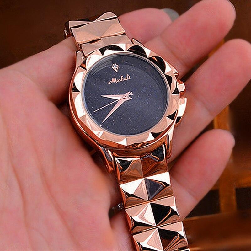 Meilleure vente femmes en acier boucle chanceux montre de luxe dames ciel étoilé montre à Quartz livraison directe