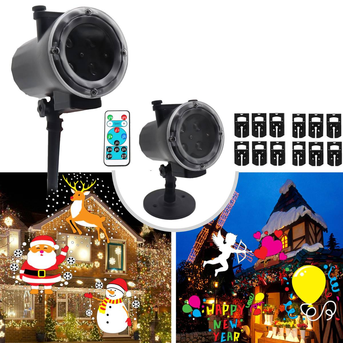 Christmas Laser Projector Animation Effect IP65 Indoor/Outdoor Snowflake Motion Projector 12 Patterns Snowfall/Snowman Laser Lig