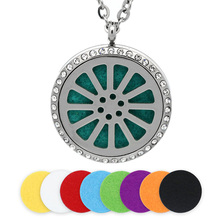 BOFEE Aromatherapy Necklace Pendant Diffuser Charm Perfume Stainless Steel Essential Oil Locket Crystal Chain Jewelry Gift 30MM цена и фото