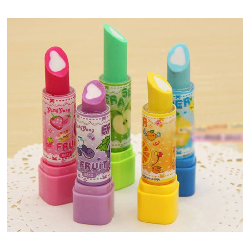 4Pcs/Set Kawaii Drawing Tools School Supplies Items Erasers For Kids Rubber Cute Korean Style Middle School Lipstick Stationery