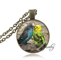 Parrot Pendant Necklace Two Parrots Kiss Picture Necklace Bird Jewelry Glass Cabochon Pendant Blue Green Yellow