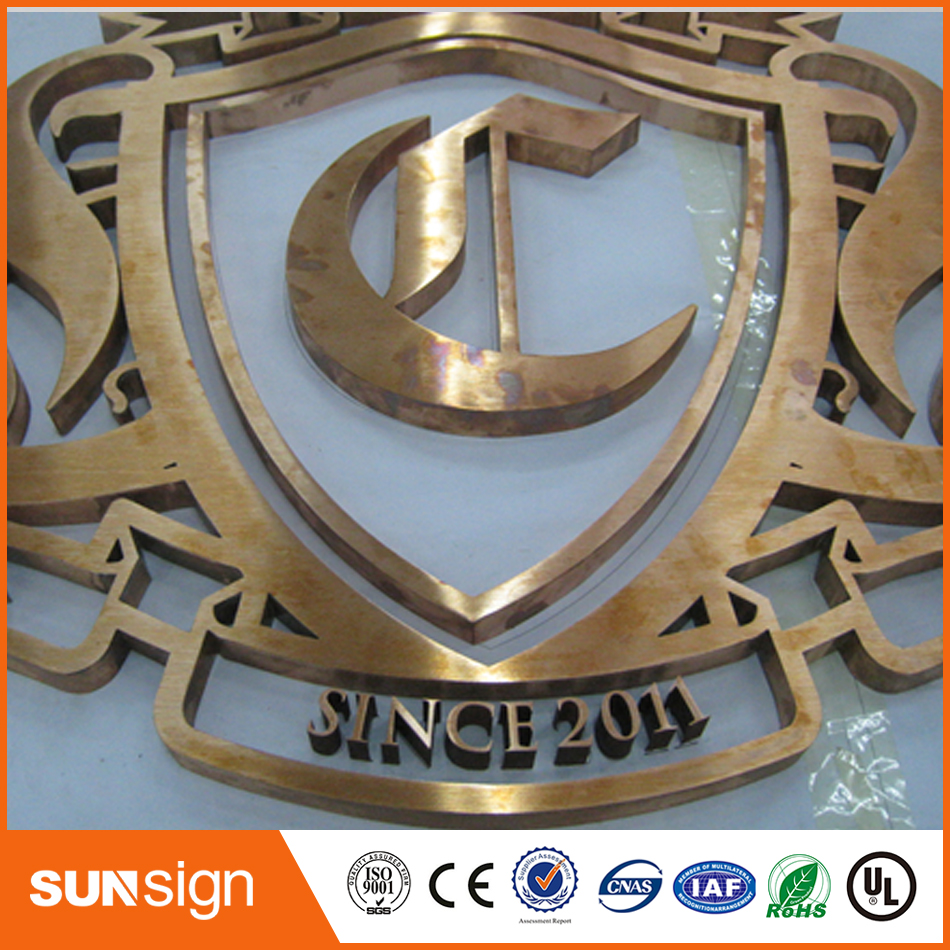 Gold Titanium 3D Stainless Steel Sign Letter