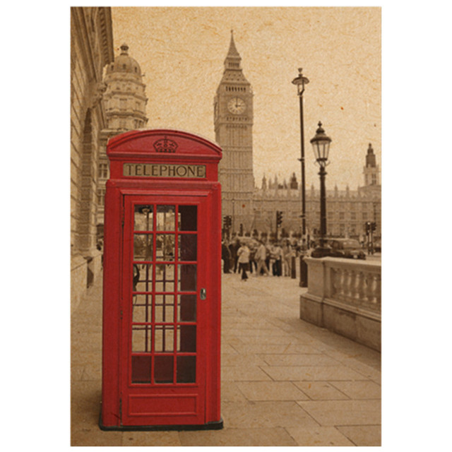 London Scenery Kraft Poster Red Telephone Booth Retro Wall Stickers Home Decoration Living Room Vintage Wallpaper