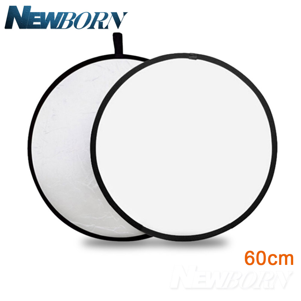 2 in 1 60cm Light Mulit Reflector Portable Collapsible Disc Photography Reflector for Portrait Photography Silver/White 5 in 1 collapsible large flash reflector board 60cm diameter