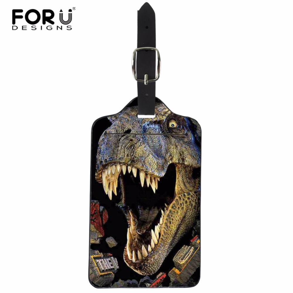 FORUDESIGNS Dinosaur Travel Accessories Luggage Tag PU Leather Suitcase ID Address Holder Baggage Boarding Tags Portable Label