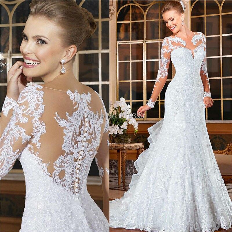 2015 New Elegant Full Long Sleeves Mermaid Wedding Dresses