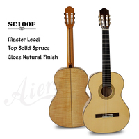 Aiersi Brand Professional Grade Handmade Spanish Skill All Solid Flame Maple Classical Guitar SC100F