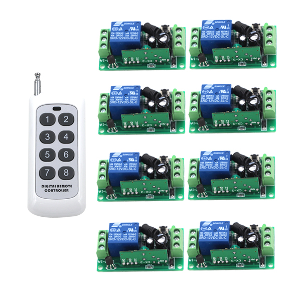 24V DC 10A Relay Receiver Transmitter Light Lamp LED Remote Control Switch Power Wireless ON OFF Key Switch Lock Unlock 315/433 small ac220v remote control switch long range transmitter receiver 200 3000m lamp light led remote lighting switch 315 433 92mhz