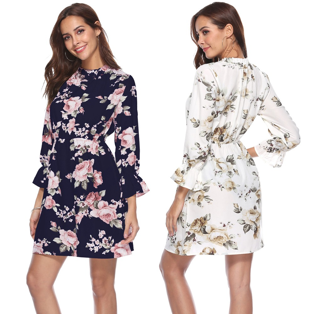 Autumn Floral Women Dresses Multicolor Elegant Printed Long Sleeve High Waist A Line Chic Dress Ladies Dress