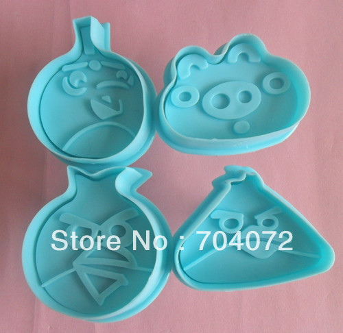 4P Birds plunger press Cookie Cutters Cake Decorating Set Sugarcraft Tools mold