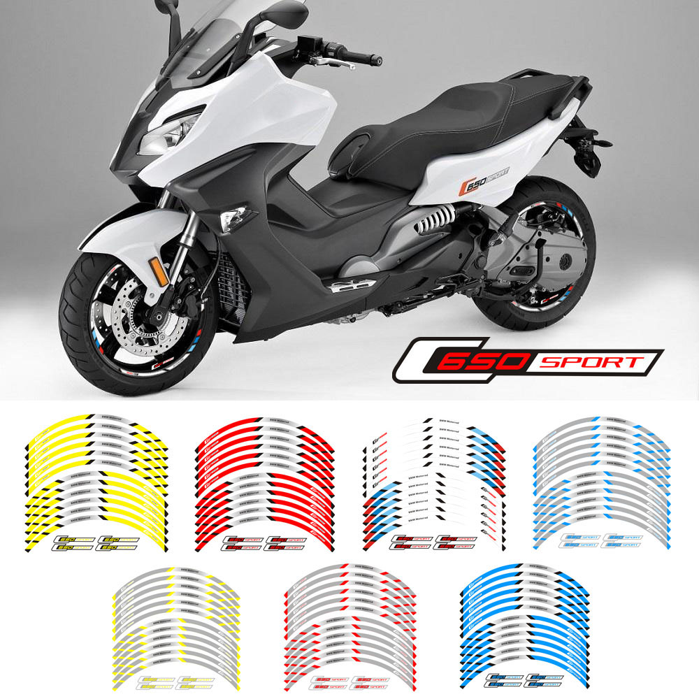 New High Quality 12 Pcs Fit Motorcycle Wheel Sticker Stripe Reflective  Rim For BMW C650 Sport