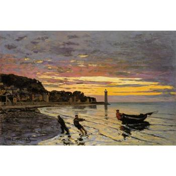 Handmade oil painting reproduction of Claude Monet High quality Hauling a Boat Ashore, Honfleur Living room decor