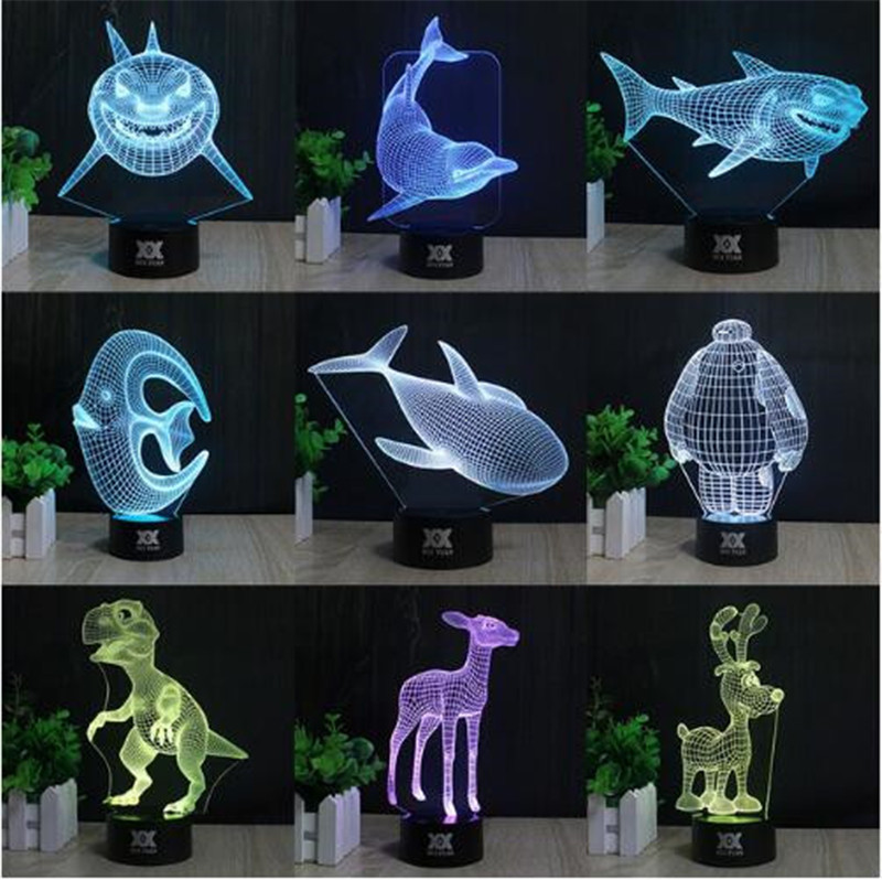 Customized Multi Styles 3d Table Lamp Optical Llusion Bulb Night Light 7 Colors Changing Mood