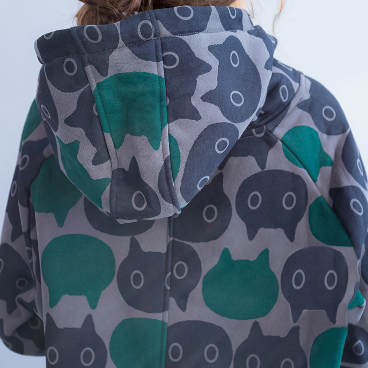 Plus Size Women Hoodies & Sweatshirts Winter Thickening Warm Cotton Fashion Female Cat Print Big Size Casual Turtleneck Dress 21