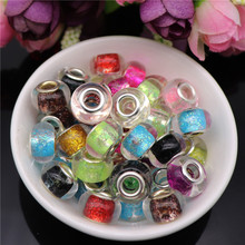 10pcs New Hot Mix Color 5mm Big Hole Round Loose Plastic Resin Spacer Beads Charms fit for Pandora Bracelet DIY Jewelry Making