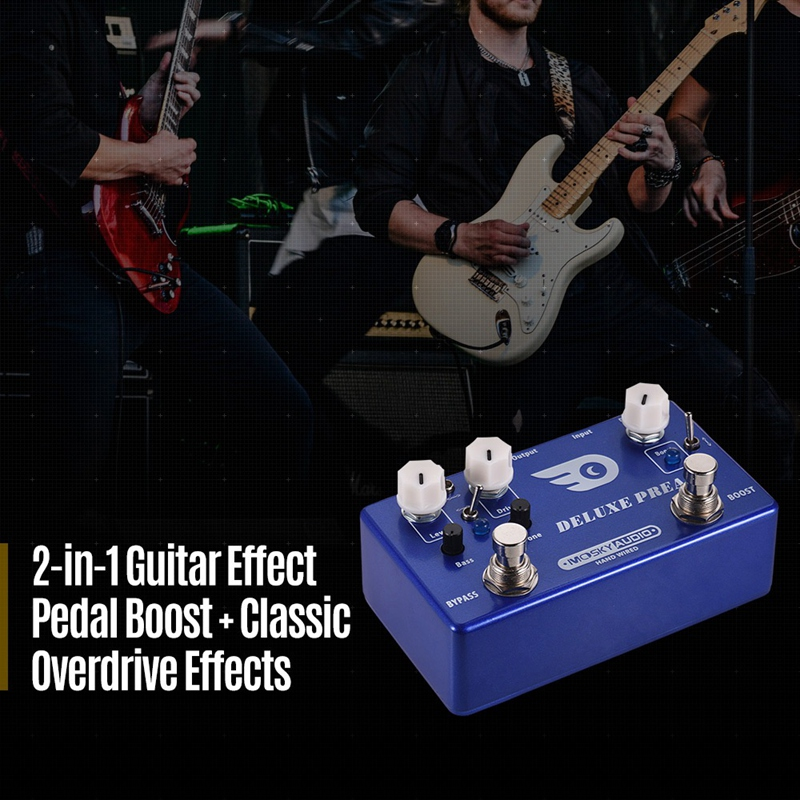 Mosky Deluxe Preamp Guitar Effect Pedal 2 In 1 Boost Classic Overdrive Effects Metal Shell With True Bypass Guitar Accessories