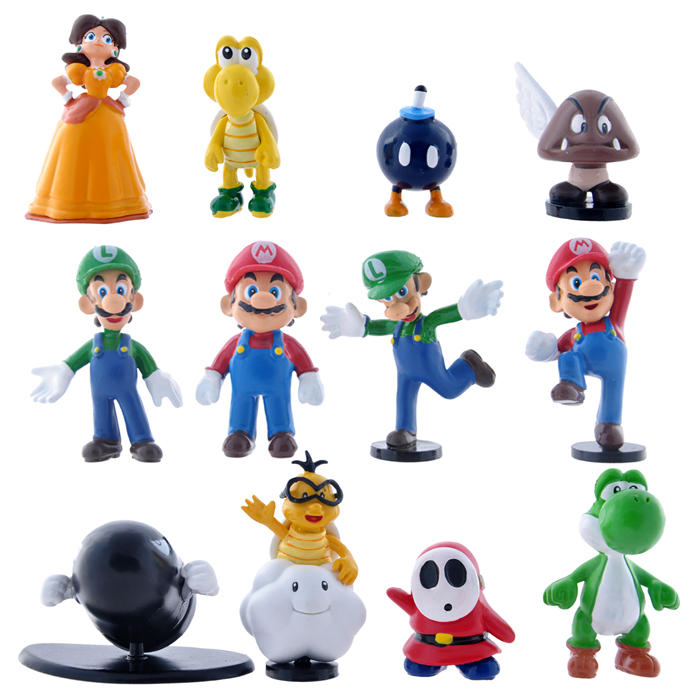 12pcs/set Super Mario Bros Luigi Daisy Goomba Yoshi Bullet Bill Action Figures Anime PVC brinquedos Collection Figures toys