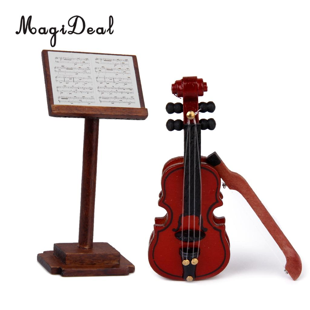 MagiDeal High Quality 1Pc 1/12 Dollhouse Wooden Miniature Music Stand with Music Score D ...