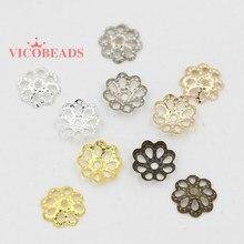1000 pçs/lote 6mm 9 MILÍMETROS Da pétala Da Flor de Prata Banhado A Ouro End Spacer Beads Caps Bead Encantos de Copos Para Jóias fazer Diy