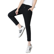 ФОТО women casual fit pants brand high quality cotton black pants ankle-length sportswear fashion summer female clothes plus size xxl