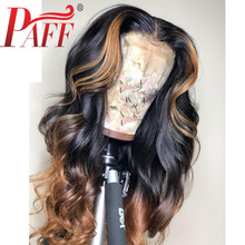 PAFF Highlight Blonde 4*4 Silk Top Full Lace Human Hair Wigs Natural Wave Ombre Glueless Pre Plucked Middle Part