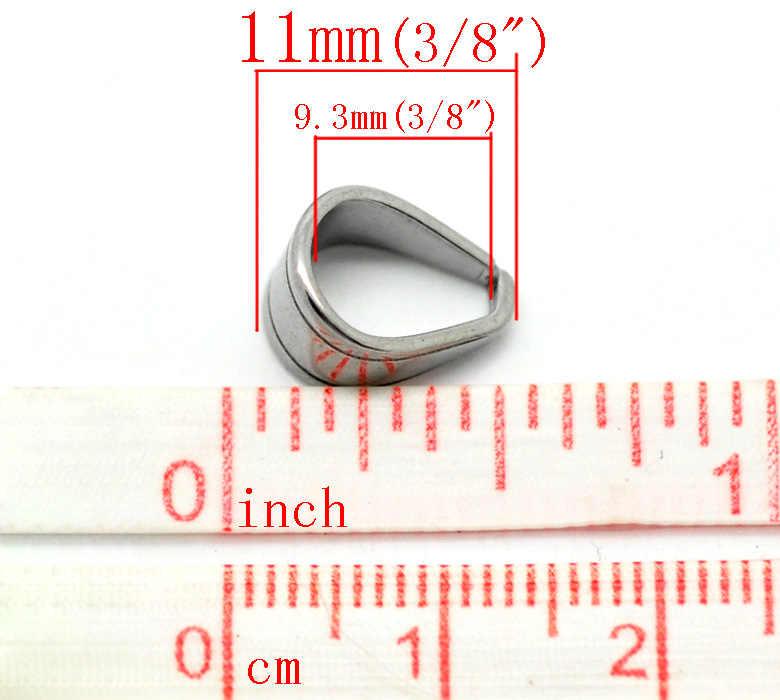 """สแตนเลสสตีลจี้ Bails คลิปและจี้เข็มขัดเงิน 11 มิลลิเมตร (3/8 """") x 9 มิลลิเมตร (3/8 """"), 2 ชิ้น"""