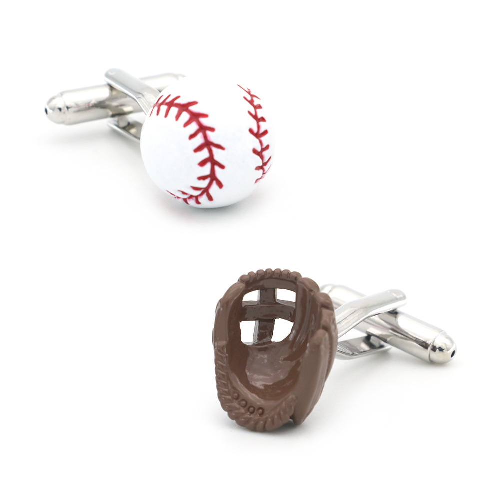IGame Men's Baseball & Gloves Cuff Links Brass Material White Color Sport Design Cufflinks Free Shipping