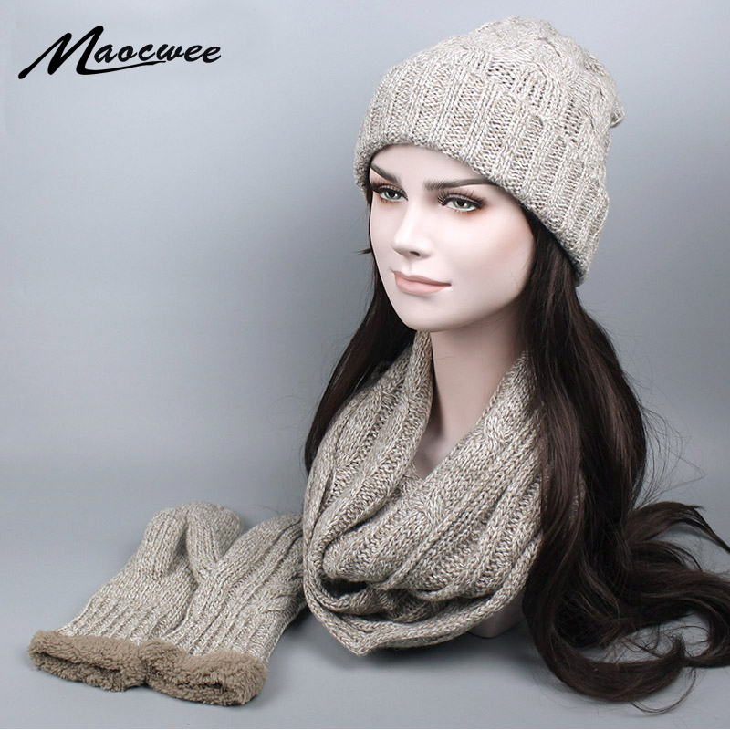 New Winter Knitted Scarf Hat & Glove Sets For Women Man Wool Warm Plus Cashmere Thicker Scarves Skullies Beanies