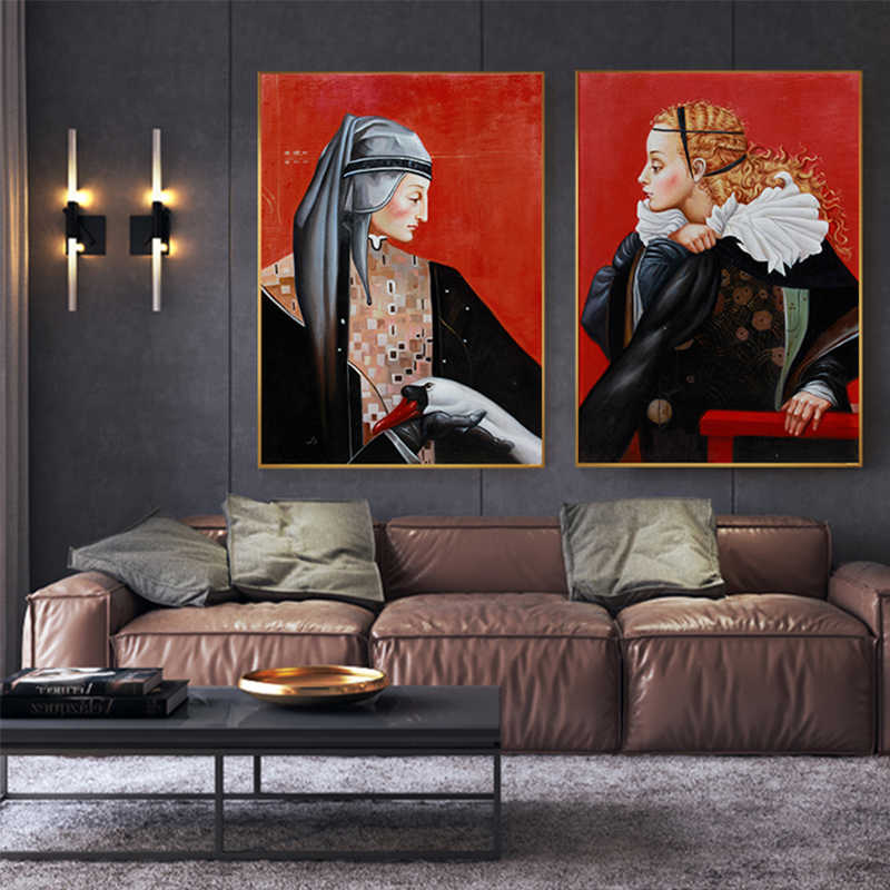 Europe Medieval Female Knight Vintage Abstract Figure Canvas Poster Print Women Wall Art Pictures for Living Room Home Decor Painting & Calligraphy AliExpress