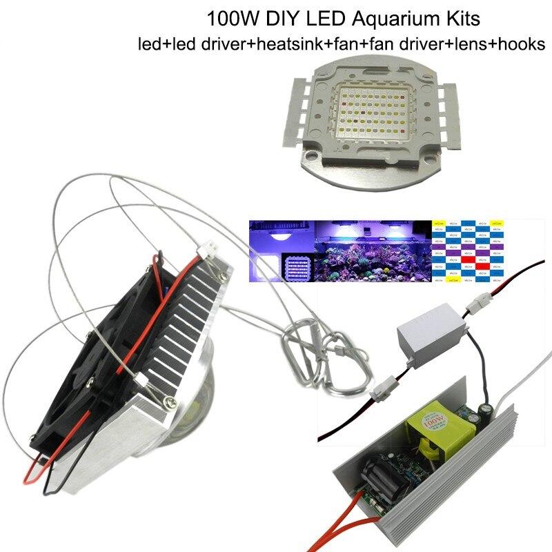 1 pcs 100 w Lumière D'aquarium pour les Coraux, diy 100 w Puces Multiples Led Aquarium Led Puce, meilleur pour marine, Fish Tank, pour Corail, Reef Culture