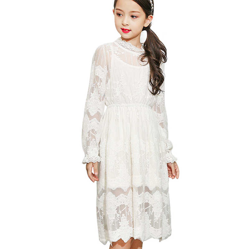 2017 Girl Hollow Out Lace Long Maxi Dress For Baby Kids Teens Princess Wedding Prom Party Costumes Full Sleeve Christmas Dresses