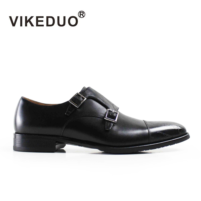 VIKEDUO Luxury Brand Fashion Retro High Quality Males Monk Shoes Business Party Wedding Double buckle Laser Printing Footwear