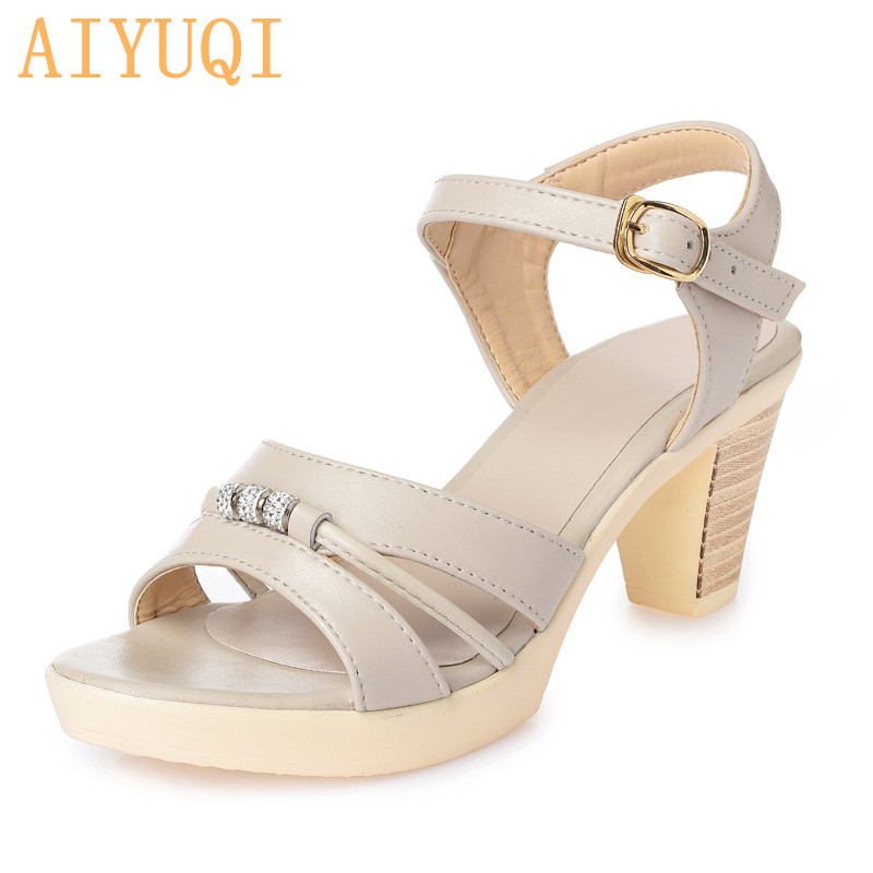 AIYUQI 2019 Fashion new summer elegant woman sandals crystal decoration open toe shoes Rome genuine leather shoes women in Middle Heels from Shoes
