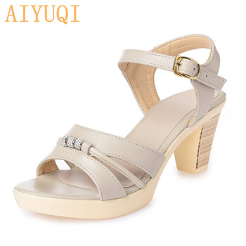 AIYUQI 2020 Fashion new summer elegant woman sandals crystal decoration open toe shoes Rome genuine leather shoes women цена 2017