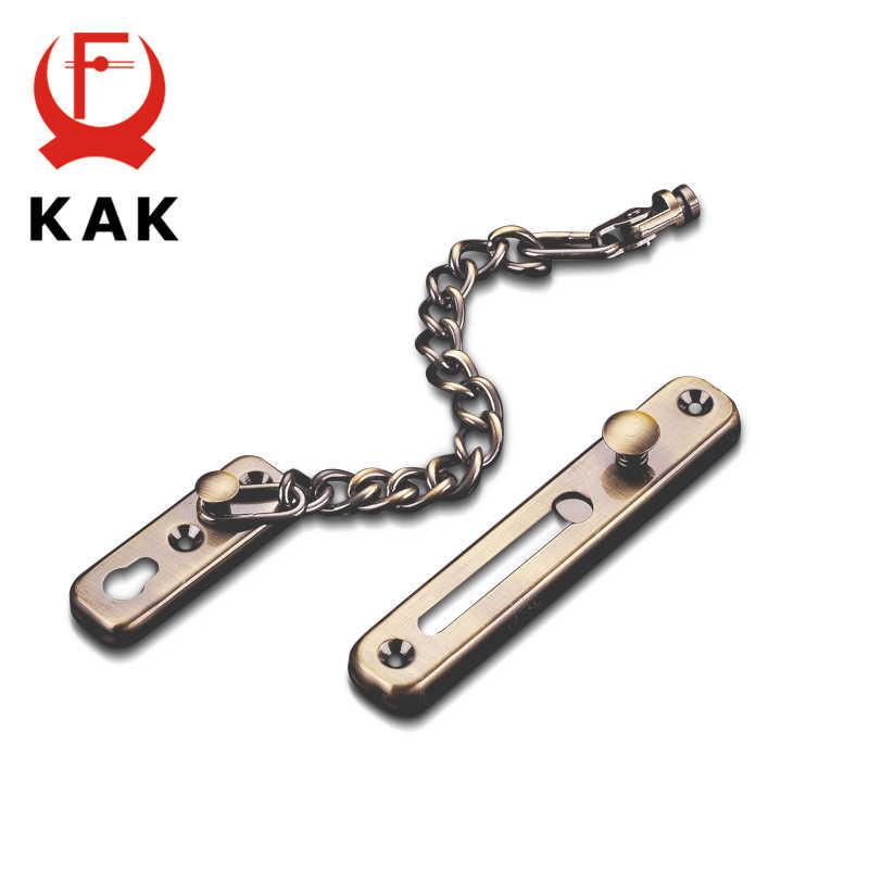 KAK 304 غير القابل للصدأ باب أمان فولاذي سلسلة قفل مكافحة سرقة الباب سلسلة مزلاج الباب الفضة البرونزية الذهب الأسود قفل الباب الأجهزة