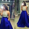 Royal Blue Sequined Halter A Line Long Satin Evening Dresses 2016 Backless Sleeveless Floor Length Formal Evening Dress 01275