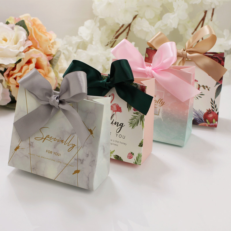 French Wedding Gifts: 5pcs Upscale European Famingos Candy Bag French Thank You