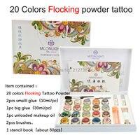 Новинка 2017 года Высокое качество 20 цветов стекаются порошок татуировки набор для боди арт Временные татуировки Кисти клей трафареты Беспла