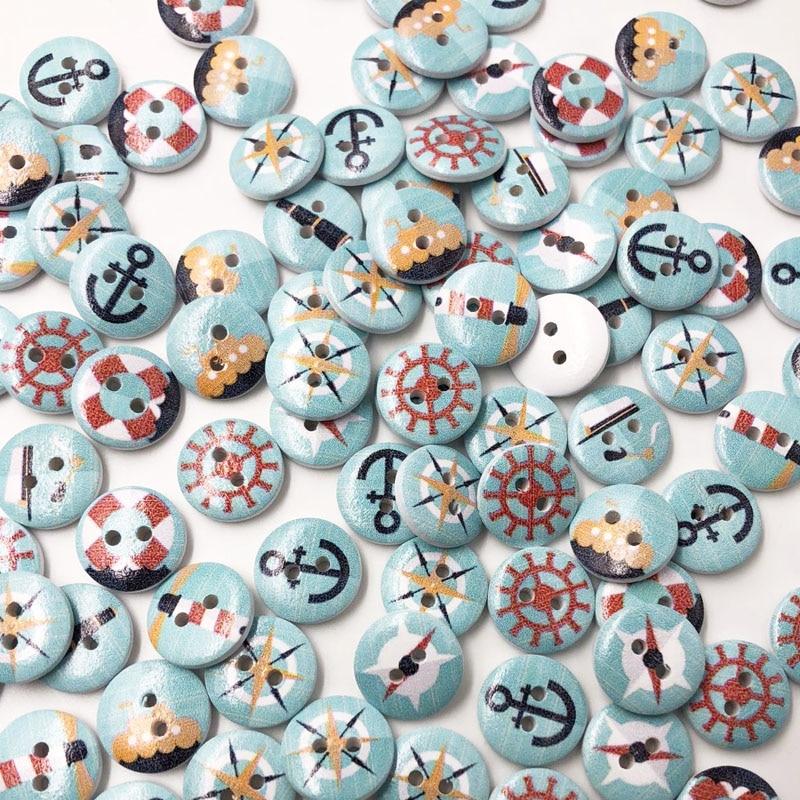 Смешанный морской моряк якорь комплекты пуговиц для рукоделия Ремесло Скрапбукинг DIY Вышивание декоративные детская кнопка костюмы WB613
