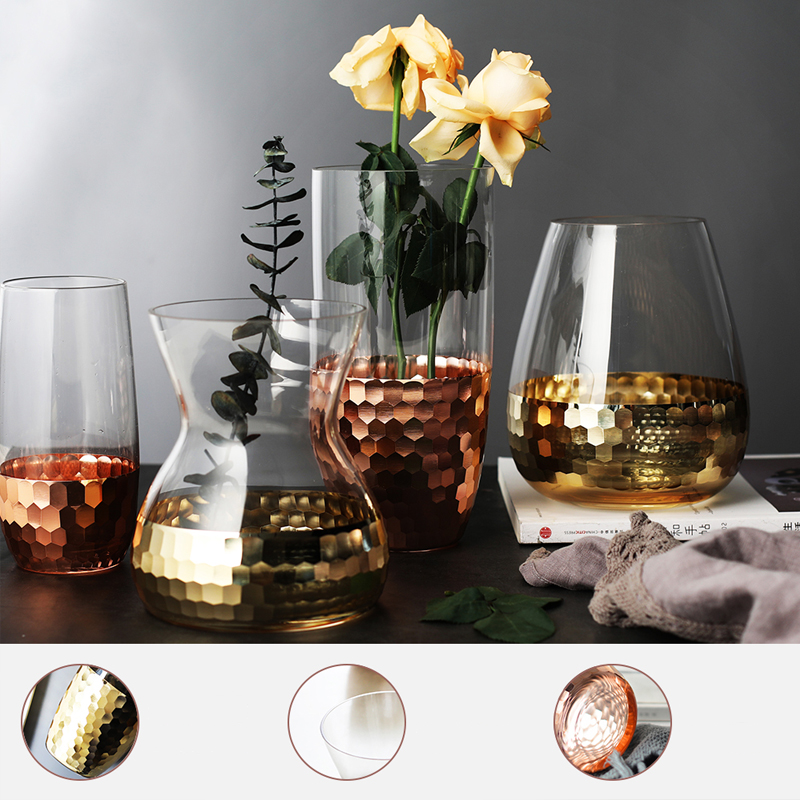 Northern Europe Electroplated Gold Foil Vase Glass Flower Vases Dried Bottle Home decor room Decoration accessories