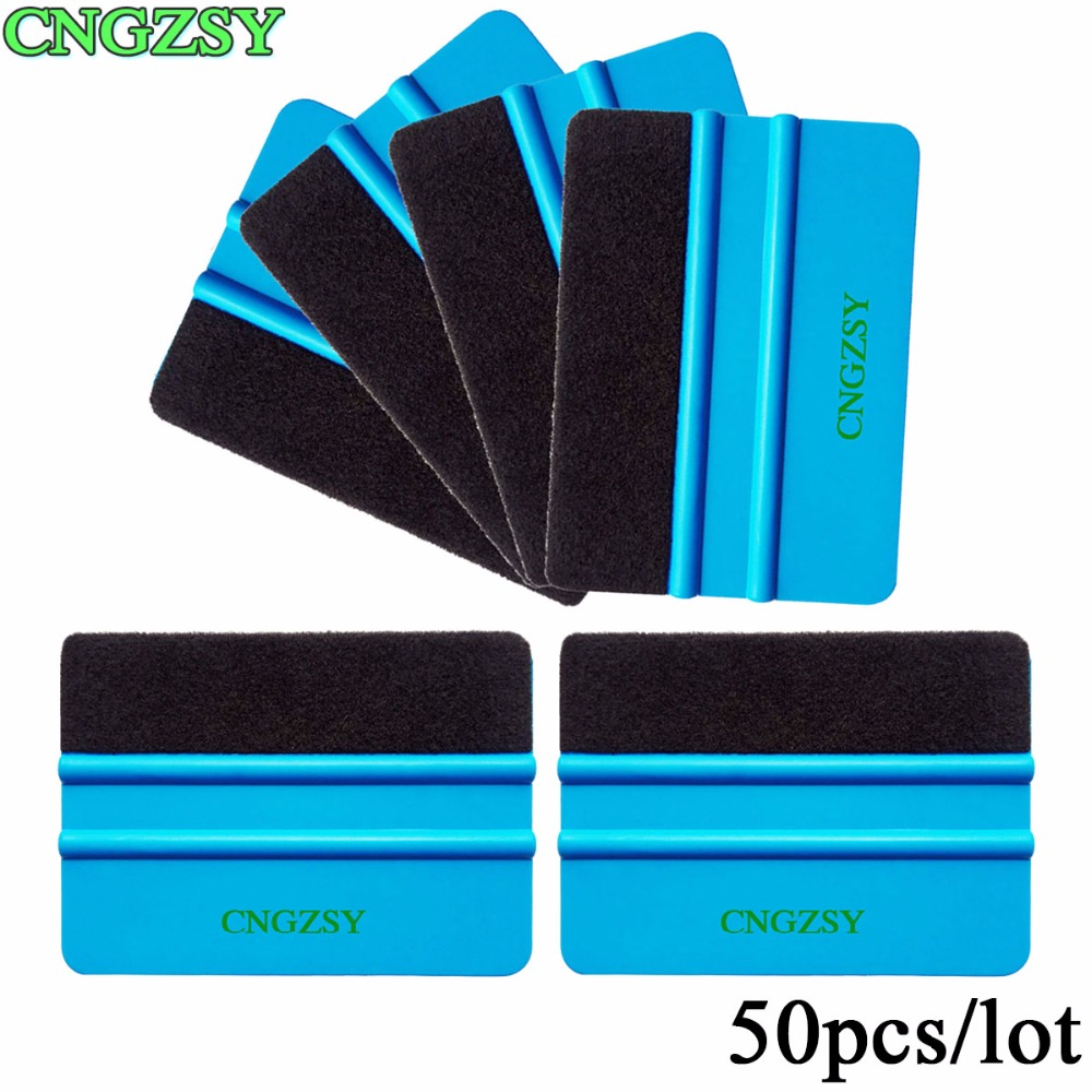 50pcs Blue Plastic Scraper Squeegee With Felt Edge Car Styling Stickers Vinyl Film Wrapping Tools CNGZSY