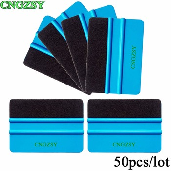 50pcs Blue Plastic Scraper Squeegee With Felt Edge Car Styling Stickers Vinyl Film Wrapping Tools CNGZSY Factory Wholesale 50A02