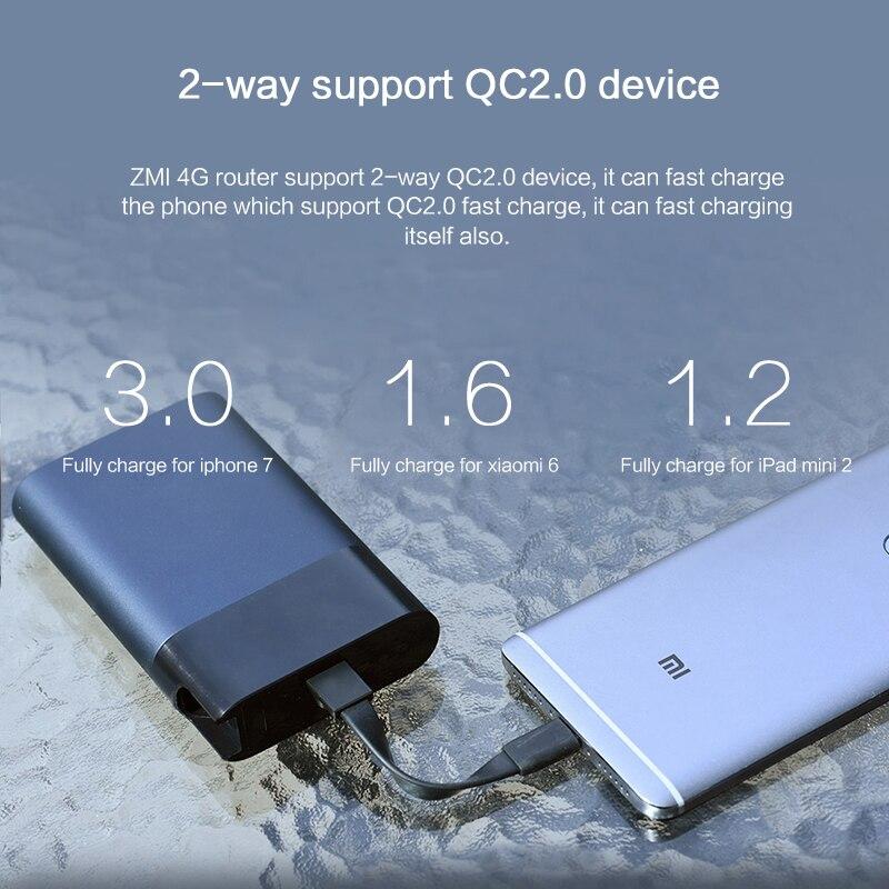 Original nouveau Xiaomi ZMI M885 10000 mAh mifi 3G 4G routeur répéteur Wifi sans fil avec batterie externe Mobile 5 V/10000 mAh QC2.0 - 5