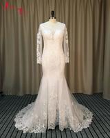 Jark Tozr Vestidos De Noiva Sereia Trouwjurken Long Sleeve Buttons Back Ivory Tulle Luxury Winter China Wedding Dresses 2017