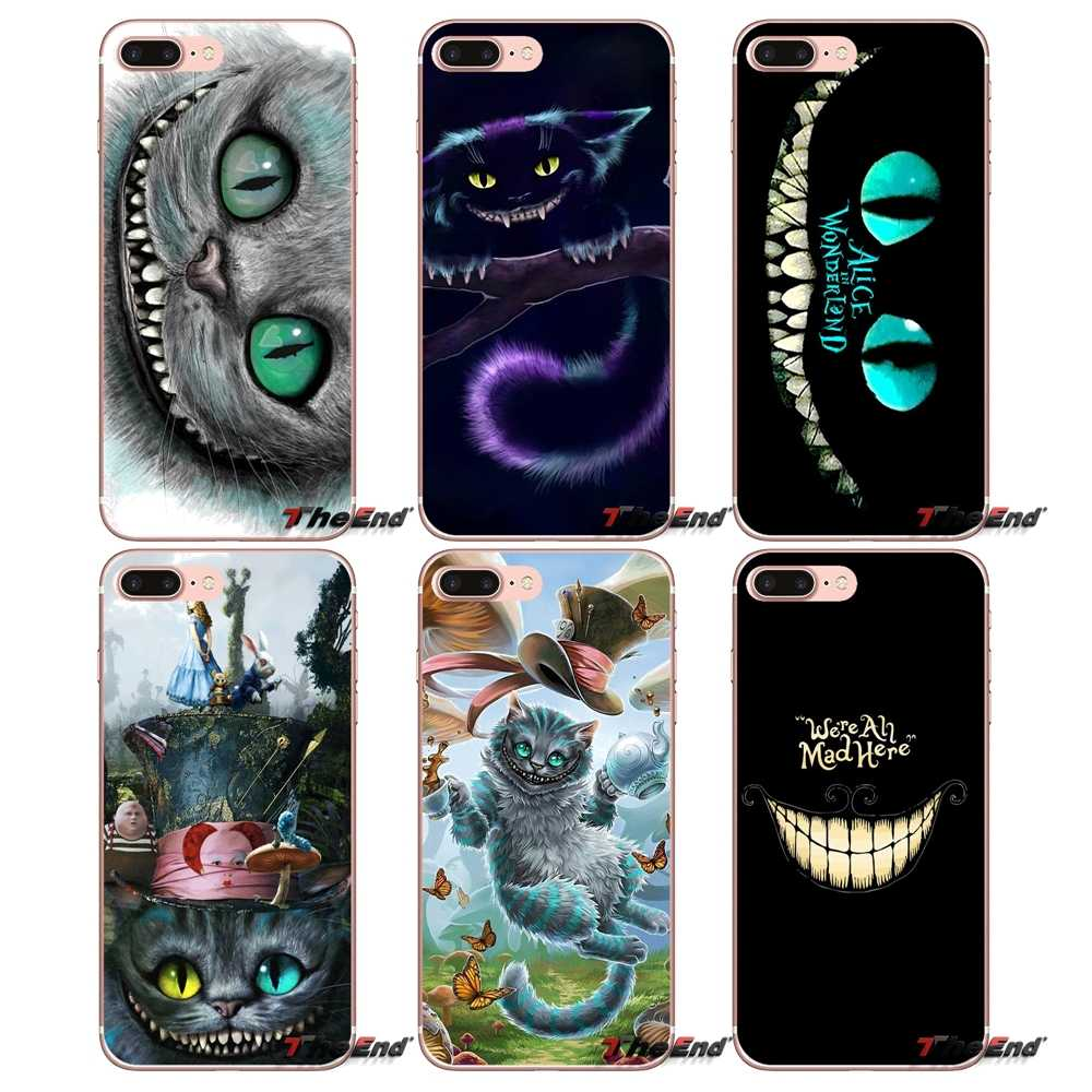 For Sony Xperia M2 M4 M5 E3 T3 XA Aqua Z Z1 Z2 Z3 Z5 compact LG G4 G5 G3 G2 Mini Alice in Wonderland Space Cheshire Cat Cover