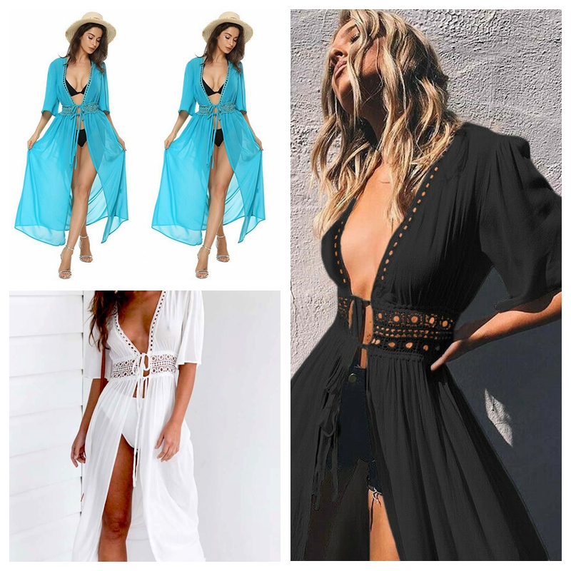 HTB1EtcdUxjaK1RjSZKzq6xVwXXal - Ladies Women Sexy Bikini Cover up Beach Dress Robe Swimwear Chiffon Beachwear Bathing Suit Summer Holiday Kimono Cardigan New