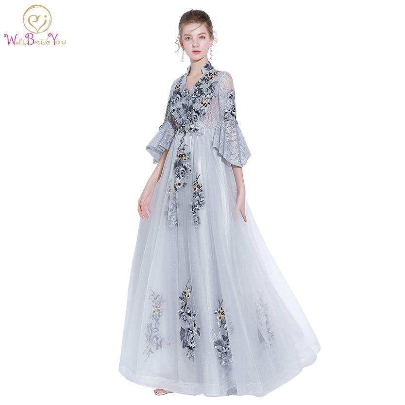 Walk Beside You Gray   Prom     Dresses   2018 V-neck Three Quarter Sleeves Lace A-line Formal Evening Gown Long vestido de festa longo