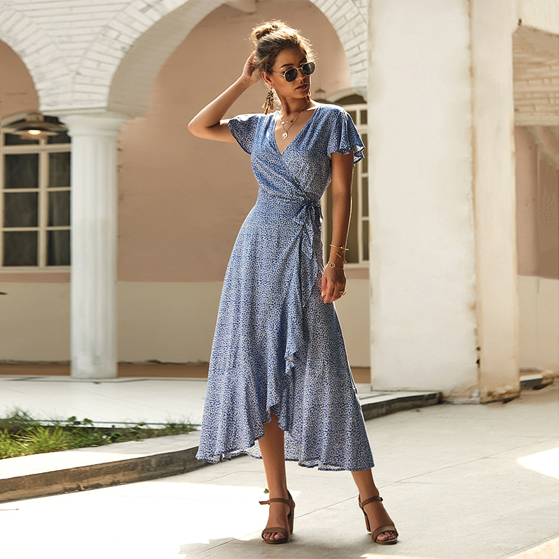 Women V Neck Short Sleeve Dress Bohemia Vintage Print Maxi Dress Elegant Wrap Up Boho Beach Dress in Dresses from Women 39 s Clothing