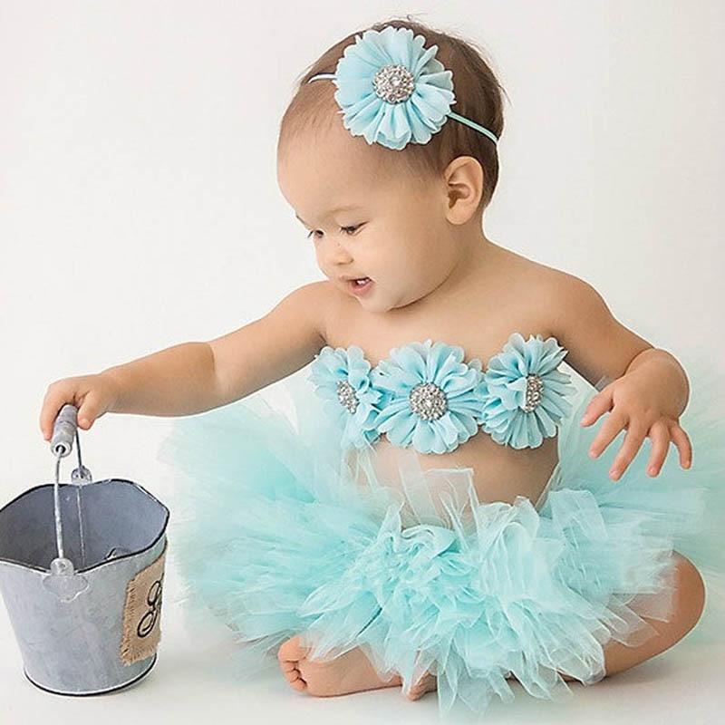 Новая детская юбка-пачка принцессы с подходящей повязкой на голову с цветами и бюстгальтером Топ для маленькой девочки реквизит для фотосе...